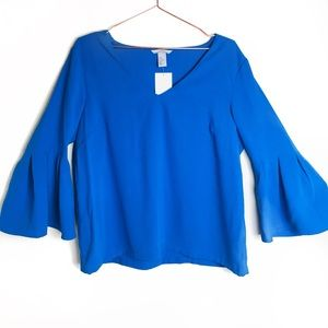 NWT H&M Royal Blue Bell Sleeve Tunic Top Size 14